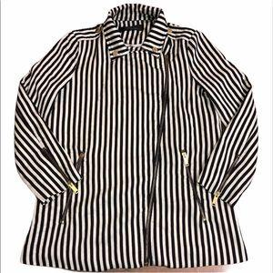 ZARA Trafaluc Striped Moto Blazer Jacket